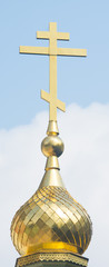 Golden cross on the dome of the Shipka Monastery