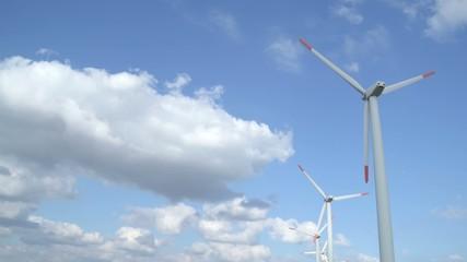 Windgenerator park with timelapse effect