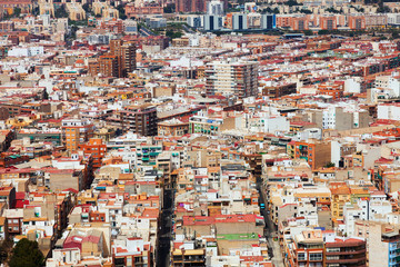 Alicante cityscape from Castle.   Spain