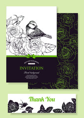 Collection of invitation templates. Vintage floral design.