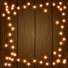 Wooden Christmas background with lights