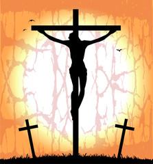 silhouette di cristo sulla croce