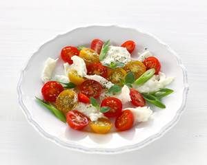 Mozzarella, red and yellow cherry tomatoes