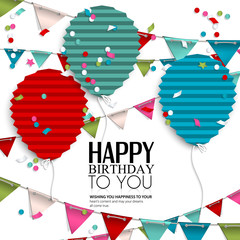 Birthday wish with bunting flags and balloons in the style of