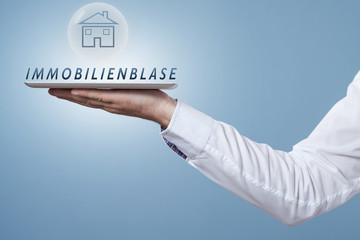 Haus in einer Blase mit dem Wort Immobilienblase