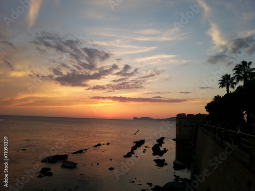 canvas print picture Sunset in Alghero