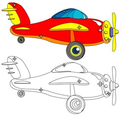 Color and Outline Version of the Aircraft. Vector.