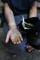 Homeless beggar money