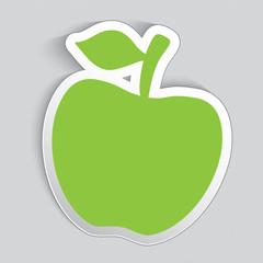 Sticker label in a shape of apple.