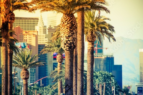 Leinwanddruck Bild Las Vegas Strip Palms