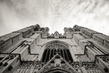 Cathedral of St. Michael view from the ground - b&w