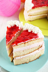 Strawberry cake on table close-up
