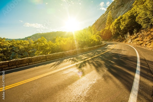 canvas print picture Sunny Yosemite Road