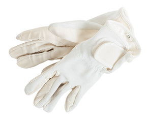 white  competition gloves for Equestrian sports isolated