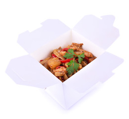 Fried noodle in takeaway box isolated on white