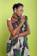 Caribbean girl in pattern fabric tunic