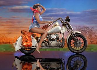 Fantasy ride - cute caribbean girl on a scale bike