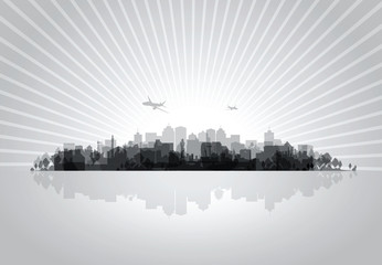 black cityscape overprint background