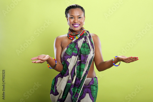 canvas print picture Caribbean girl in pattern fabric tunic
