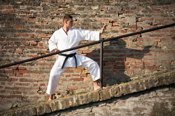 Young martial artist in defense position. in front of brick wall