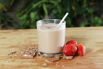 milkshake of strawberry and chocolate