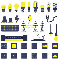Set of Many Electric Power Energy Vectors and Icons