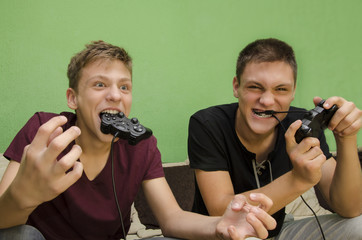 Funny kids playing video games overexcited