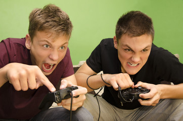 Competitive kids playing video games funny