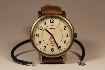 wristwatch with a leather strap
