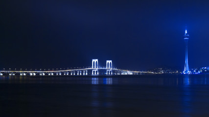 Macau Tower and Sai Van Bridge at Night. View from the Taipa.