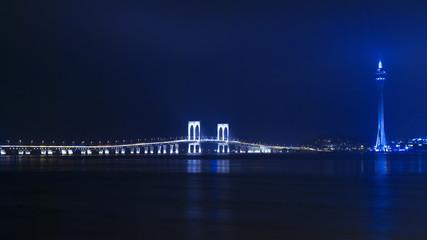 Macau Tower and Sai Van Bridge at Night. View from the Taipa.