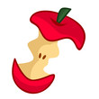 bitten red apple isolated illustration