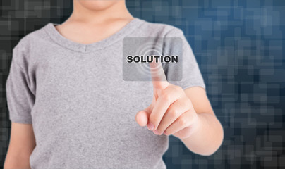 hand pushing solution button on a touch screen interface