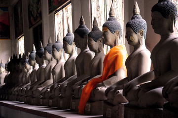 Row of Buddha Status at thailand