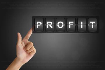 hand pushing financial profit on Flip Board