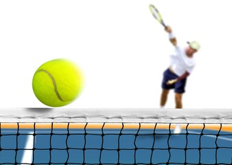 Tennis Ball Serve over The Net