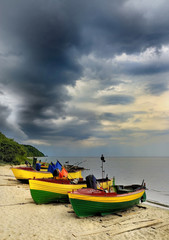 Krajobraz Morski, morze, łodzie rybackie na plaży