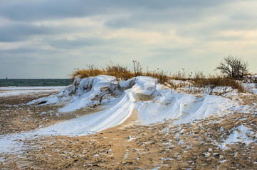 Krajobraz Morski, morze, zimowa plaża