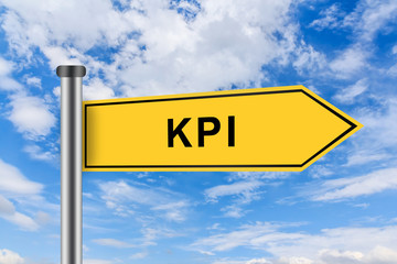 yellow road sign with KPI or Key performance indicator words