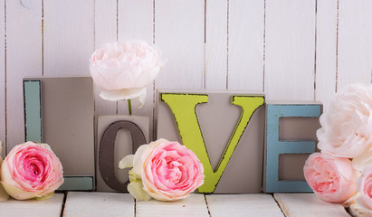 Word love and flowers