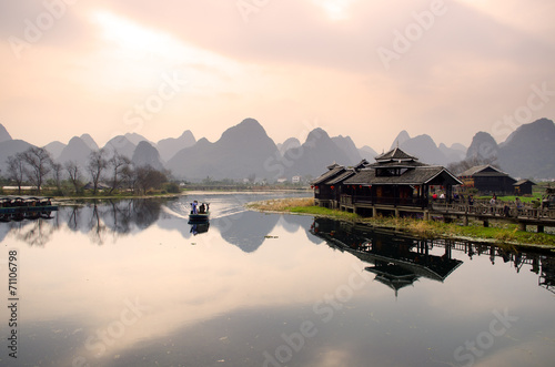 Foto op Canvas Guilin Landscape in Yangshuo Guilin, China ..