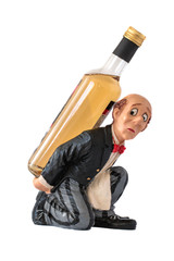 Porcelain figurine of the waiter with a large bottle