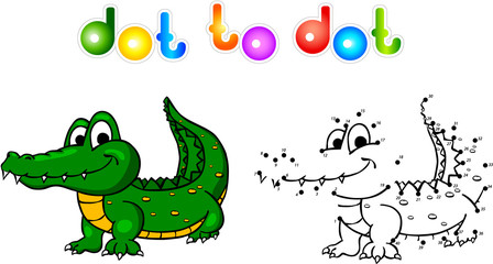 Funny cartoon crocodile dot to dot