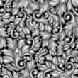 Seamless pattern with baroque ornamental floral silver elements.