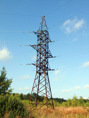 mast high-voltage power lines