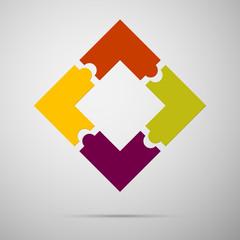 color puzzle infographic plastic