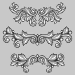 Set of baroque ornamental antique silver scrolls and vignettes.