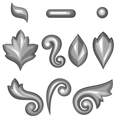 Set of baroque ornamental floral silver elements.