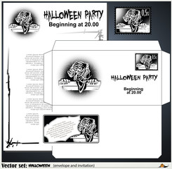 Vector envelope and an invitation to a Halloween party
