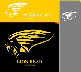 Elegant roaring lion head combine with text